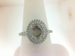 White 14 Karat Semi Mount Ring With 72=0.34Tw Round Diamonds