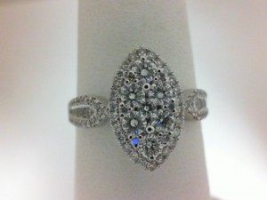 White 14 Karat Engagement Ring With 87=0.82Tw Round Diamonds
