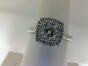 White 14 Karat Ring With One 0.52Ct Round J/K Si2-I1 Diamond And 14=0.35Tw Round Diamonds