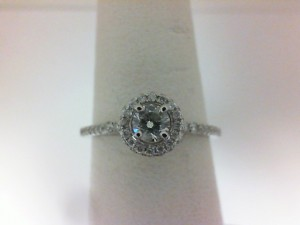White 14 Karat Ring With 50=0.23Tw Round Diamonds And One 0.20Ct Round H/I I1 Diamond