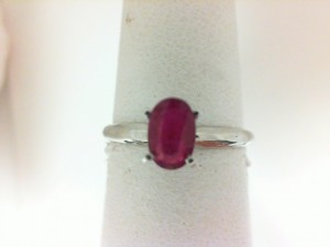 14 Karat White Gold Solitaire Ring With One 0.54Ct Oval Ruby