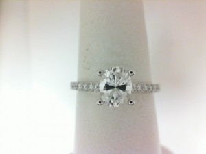 White 14 Karat Ring One 0.50Ct Oval H Vs2 Diamond With 28=0.24Tw Round G/H Si1 Diamonds