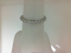 Lady'S White 14 Karat Wedding Band With 28=0.17Tw Round Diamonds