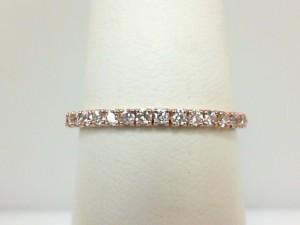 Rose 14 Karat Prong Set Wedding Band With 17=0.20Tw Round Diamonds Name: Flex Band Ring Size: 6.5