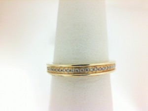 Lady'S Yellow 14 Karat Wedding Band With 24=0.09Tw Round Diamonds