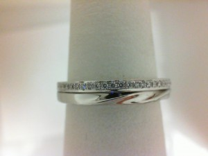 White 14 Karat Wedding Band With 27=0.09Tw Round Diamonds