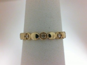 Yellow 14 Karat Stack Band With 5=0.05Tw Round Diamonds