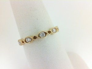 Yellow 14 Karat Milgrain Wedding Band Wedding Band With 5=0.21Tw Round Diamonds Ring Size: 6.5