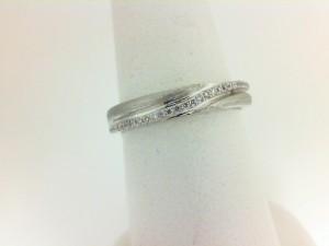 White 14 Karat Satin And Polish Wedding Band With 32=0.12Tw Round Diamonds Ring Size: 6.5