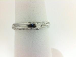 White 14 Karat Wedding Band Wedding Band With 26=0.14Tw Round Diamonds Ring Size: 6.5
