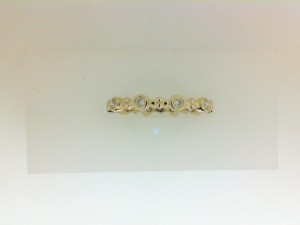 Yellow 14 Karat Wedding Band With 10=0.18Tw Round Diamonds Name: Bezel Set Eternity Band Ring Size: 6.5