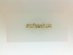 Yellow 14 Karat Wedding Band With 10=0.18Tw Round Diamonds Name: Bezel Set Eternity Band Ring Size: 6.5