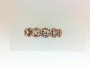Rose 14 Karat Anniversary Wedding Band With 87=0.56Tw Round Diamonds Ring Size: 6.5