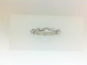 White 14 Karat Twist Wedding Band With 26=0.10Tw Round G/H Si1 Diamonds