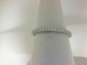 White 14 Karat Prong Set Wedding Band With 40=0.30Tw Round Diamonds  Name Tradition  Ring Size 6.5