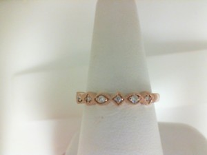 Rose 14 Karat Milgrain Fashion Ring With 4=0.03Tw Round Diamonds And 3=0.06Tw Round Diamonds