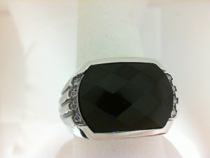 Sterling Silver Fashion Ring With One 17.00X12.00Mm Cushion Black Onyx And 8=0.08Tw Round Diamonds