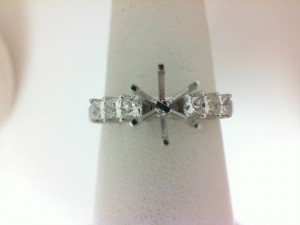 White 14 Karat Semi Mount Ring With 6=0.55Tw Princess Diamonds