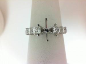 White 14 Karat Semi Mount Ring With 6=0.55Tw Princess Diamonds