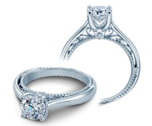 White 18 Karat Ring  With 6=0.06Tw Round Diamonds  Name Venetian  Center Size 6.5mm