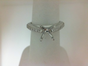 White 14 Karat Milgrain Edge Semi Mount Ring With 16=0.25Tw Round Diamonds