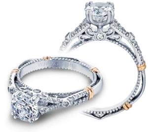 Two-Tone 14 Karat Filigree Semi Mount Ring With 0.20Tw Round Diamonds  Name Parisian  Center Size 6.5mm
