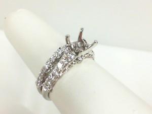 White 14 Karat Filigree Bridal Set Ring Size 6.5 With 22=0.49Tw Round Diamonds And 27=0.22Tw Round Diamonds Serial #: 56756-56473