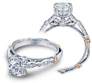 White/Rose 14 Karat Filigree Semi Mount Ring Size 6.5 With 0.15Tw Round Diamonds  Name Parisian  Center Size 6.5mm