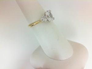 Yellow/White 18 Karat Semi Mount Ring With 6=0.20Tw Round G/H Si1-2 Diamonds Center Size: For 1.25Ct Cz