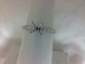 White 14 Karat Semi Mount Ring With 12=0.30Tw Round Diamonds