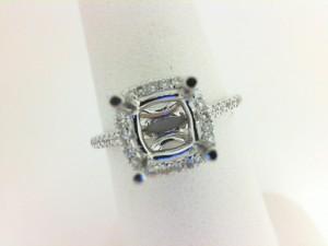 White 14 Karat Semi Mount Ring Size 6.5 With 42=0.28Tw Round Diamonds