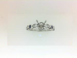 White 14 Karat Milgrain Semi Mount Ring With 8=0.14Tw Round G Si1 Diamonds And 4=0.20Tw Round Sapphires