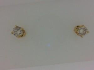 Yellow 14 Karat Stud Earrings With 2=0.38Tw Round Diamonds