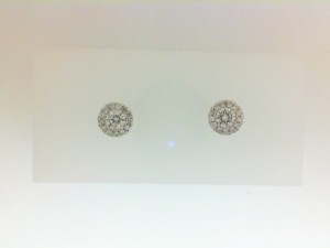 White 14 Karat Stud Earrings With 2=0.39Tw Round Diamonds And 26=0.13Tw Round Diamonds Style Name: Halo Earrings