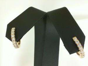 Yellow 14 Karat Small Hoop Earrings With 16=0.29Tw Round Diamonds