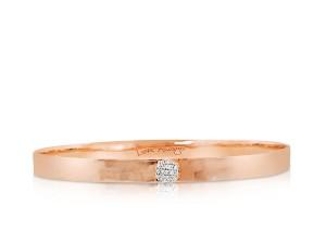 Phillips House:  14 Karat Rose Gold Hammered Infinity Love Always 5mm Bangle Bracelet With 19=0.12Tw Round Diamonds   Length: M