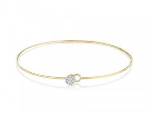 Phillips House:  14 Karat  Yellow Gold  Infinity Love Always Wire  Bangle Bracelet With 19=0.12Tw Round Diamonds   Length: 8