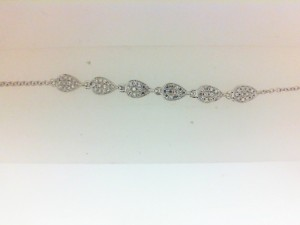 White 14 Karat Bracelet With 72=0.18Tw Single Cut Diamonds Length/Size: Adjustable