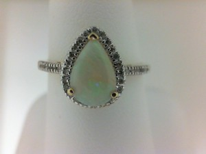 Lady S Yellow 14 Karat Fashion Ring With One 0.60Ct Pear Opal And 34=0.13Tw Round Diamonds Ring Size: 7