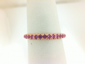 Rose 14 Karat Fashion Ring With 19=0.34Tw Round Pink Sapphires