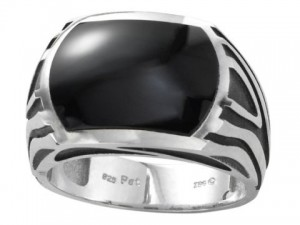 Sterling Silver Gents Black Onyx Fashion Ring