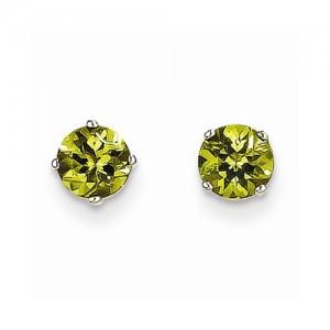 14 Karat White Gold  Peridot Earrings With 2=05.00mm Round Peridots