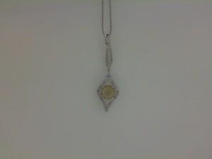 14 Karat W/G Lime Quartz With .32 Ct Diamond Pendant W/Chain