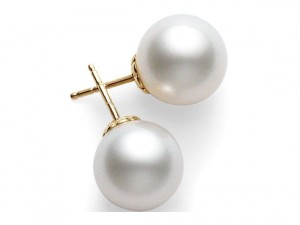 18 Karat Yellow Gold Pearl Earrings With 2=7.00-7.5 Mm Round Pearls Style Name: A Quality
