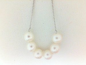 Sterling Silver Strand With 6=5.00Mm Fresh Water Pearls