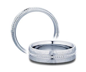 Gent s White 14 Karat Hammered Engraved Wedding Band Size 10  Diameter 6mm