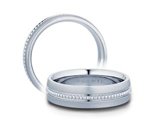 Gent s White 14 Karat Satin Engraved Wedding Band Size 10  Diameter 6mm