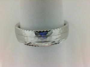 White 14 Karat Wedding Hammered Band Size 10  Diameter 6mm