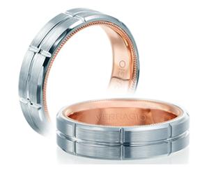 White/Rose 14 Karat Satin Engraved Wedding Band Size 10  Diameter 6mm