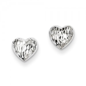 White 14 Karat Diamond Cut Earrings Name: Puffed Hearts